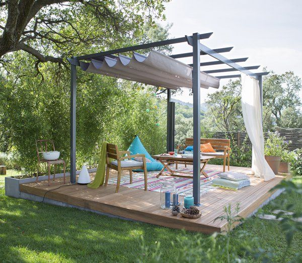 une terrasse couverte avec une pergola pour une ambiance bucolique terrasse pinterest. Black Bedroom Furniture Sets. Home Design Ideas