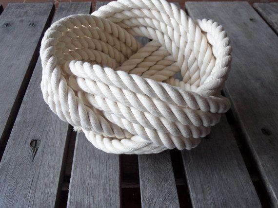 """Photo of Items similar to Nautical Decor Cotton Rope Bowl Basket 7 x 5 """"  Knotted  off white Free Shipping for Christmas on Etsy"""