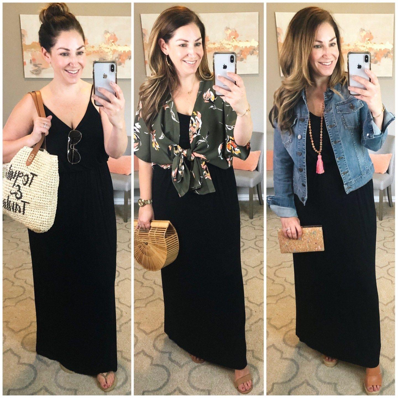 Classic Black Maxi Dress Styled 3 Ways Black Maxi Dress Style Black Maxi Dress Outfit Tank Maxi Dress Outfit [ 1440 x 1440 Pixel ]