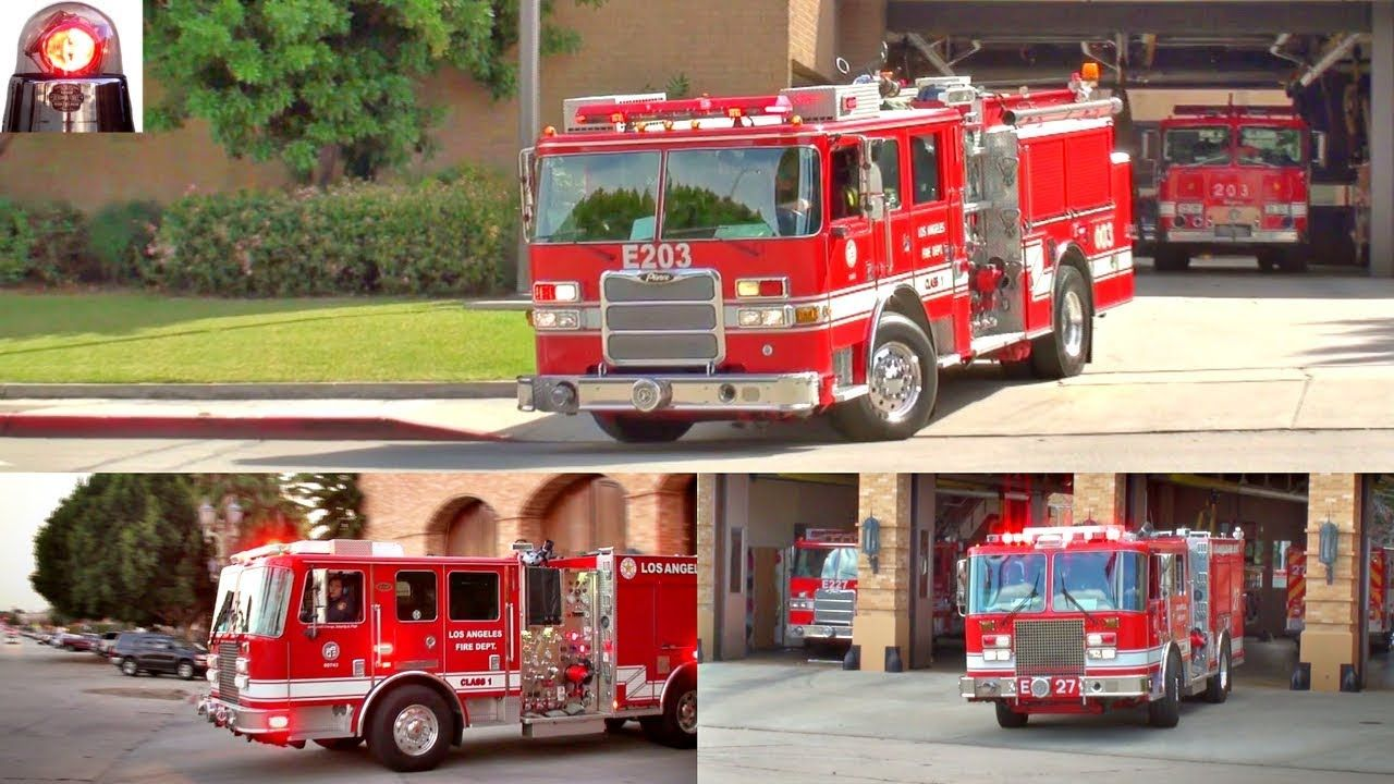 LAFD Fire Trucks and Engines Responding Lights and Sirens