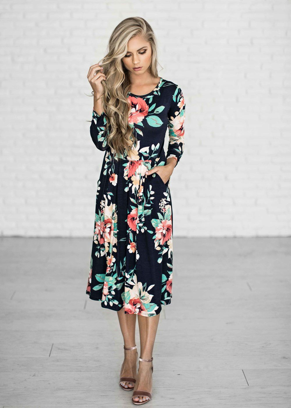 navy jane floral dress
