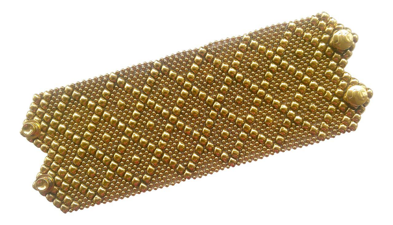 Sg liquid metal bracelet k gold mesh wide cuff b by sergio