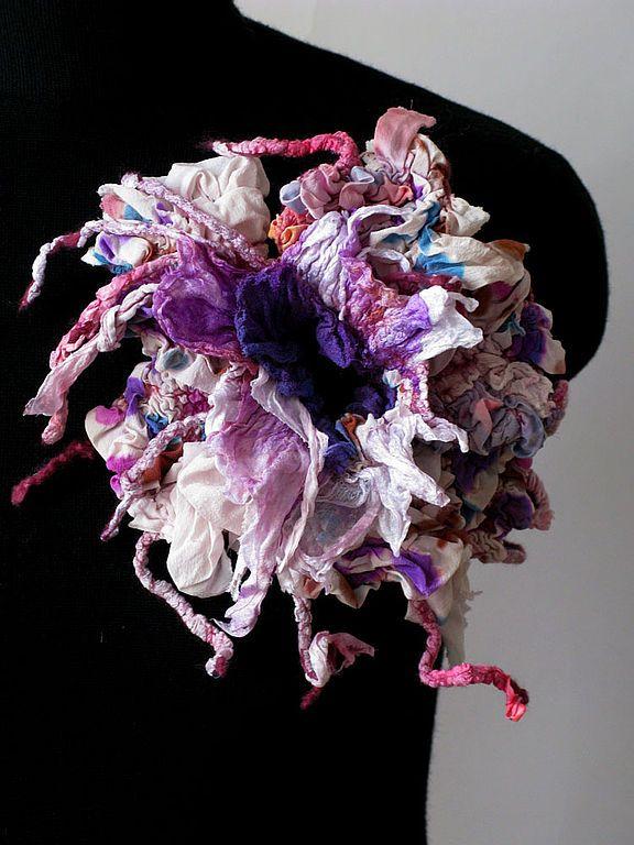 Купить Цветок-брошь - авторская работа, брошь, цветы ручной работы, 100% шерсть