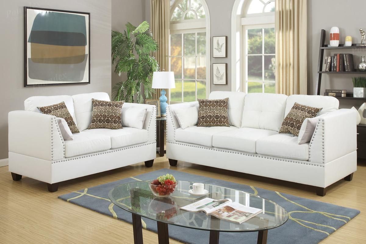 Poundex Barlo F6916 White Leather Sofa And Loveseat Set Leather