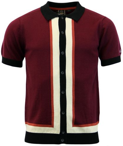 c0701669 Merc 'Rainham' Retro 1960s Mod Mens stripe panel knitted polo in wine. -  Short sleeve Mod polo.