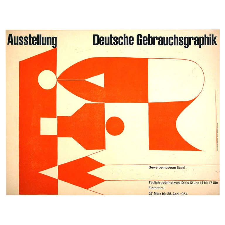 Mid Century Modern Swiss Exhibit Poster by Armin Hofmann, 1954 | From a  unique collection