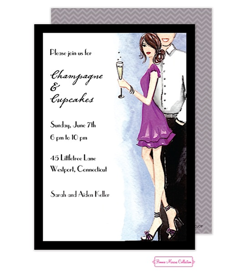 stock the bar cocktail party invitations champaign flute couple