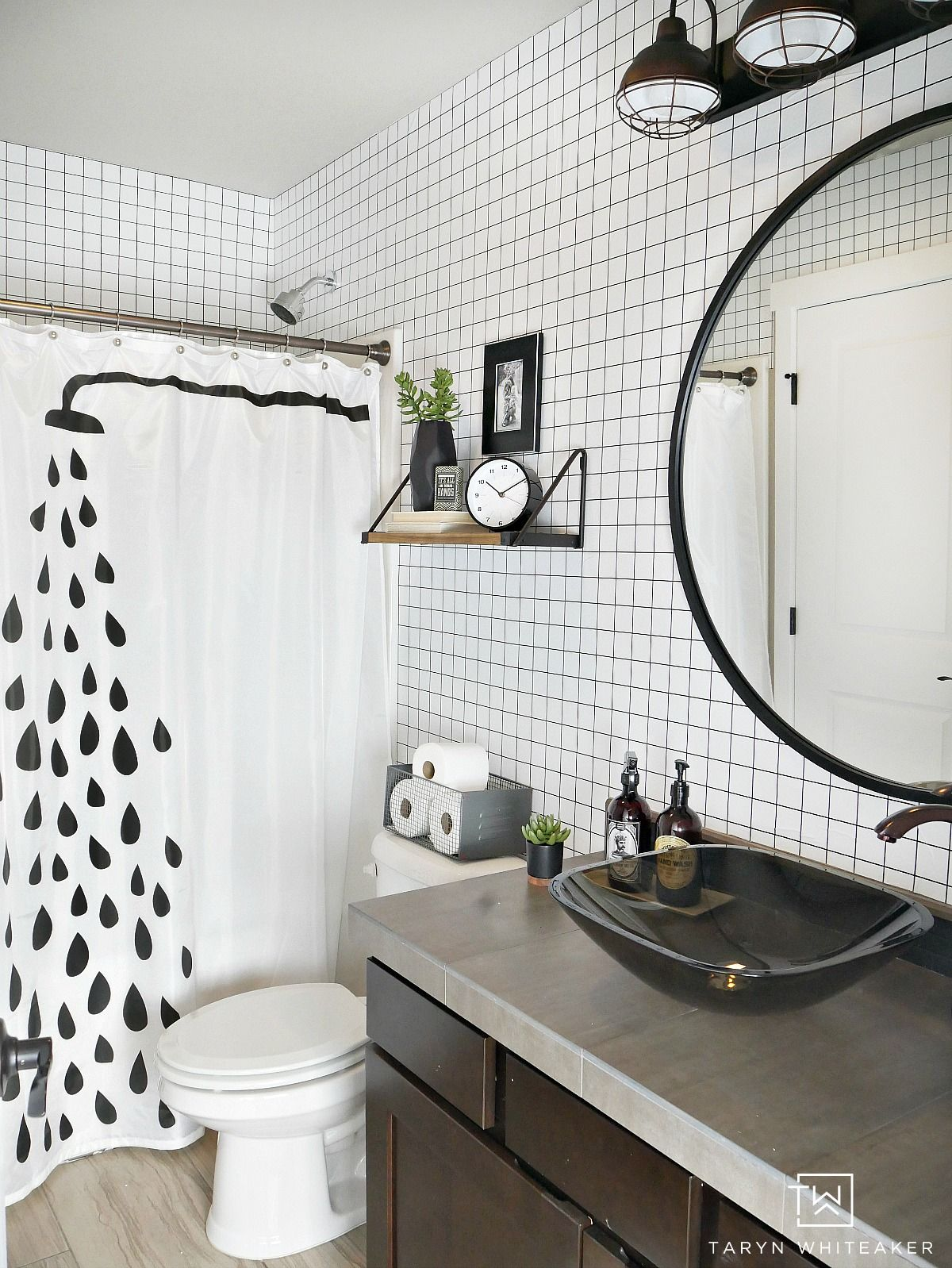 Black And White Geometric Bathroom Taryn Whiteaker Fall Bathroom Decor White Bathroom Decor Fall Bathroom