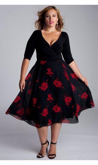 Igigi By Yuliya Raquel Isadora Plus Size Dress In Black And Red