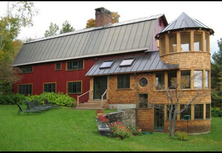 Great barn renovation Love the silo Addition idea to a post beam