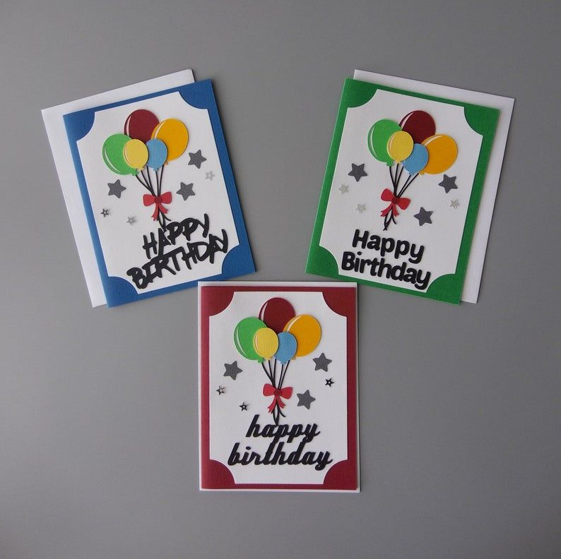 Birthday Card With Balloons Set Friend Birthday Card Happy Birthday Greeting Cards Cute Birthday Card Handmade Cards Kids Birthday Card Birthday Cards For Friends Kids Birthday Cards Happy Birthday Greeting Card