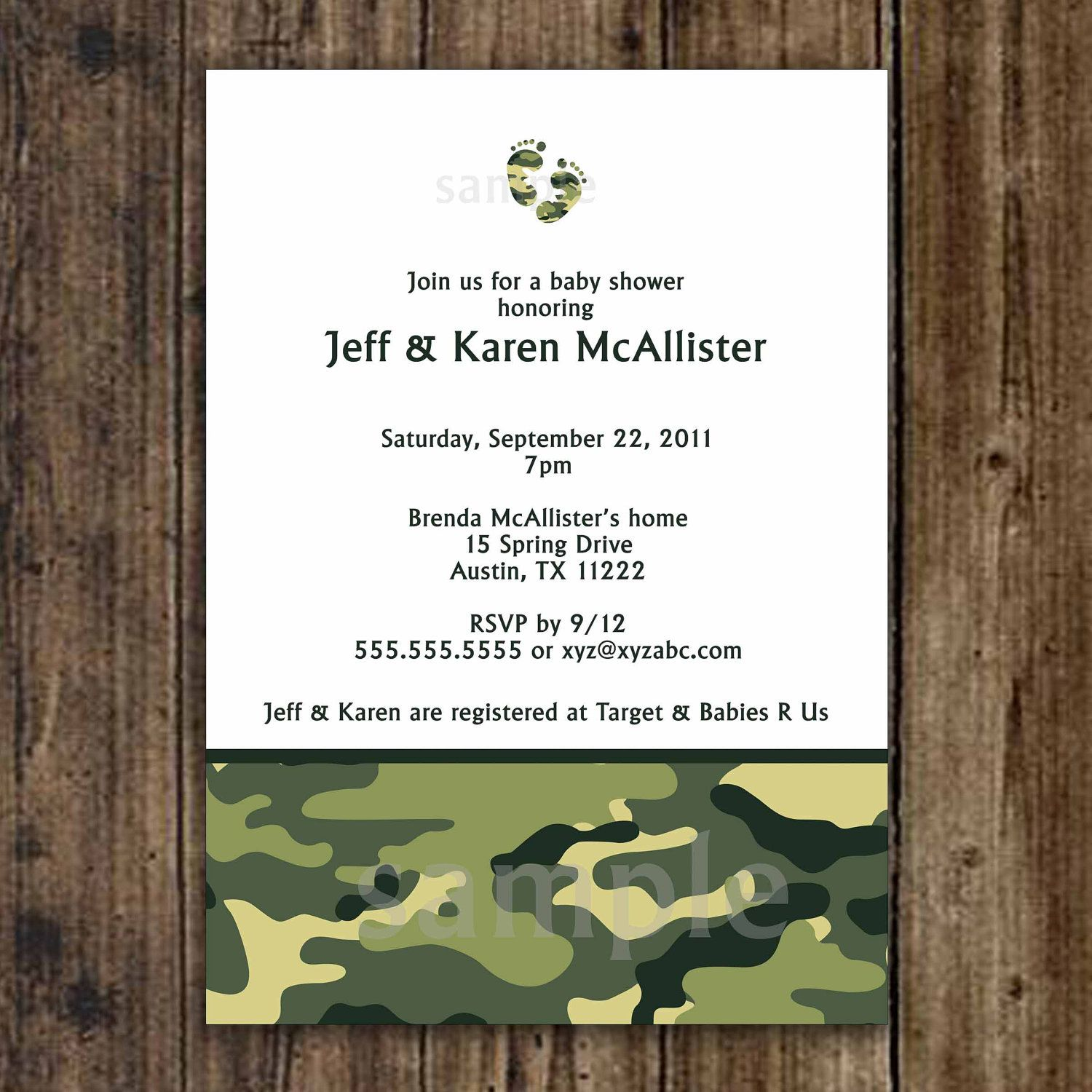 Camo Baby Shower Invitation / Army Green / by lemontreecards, $12.50 ...