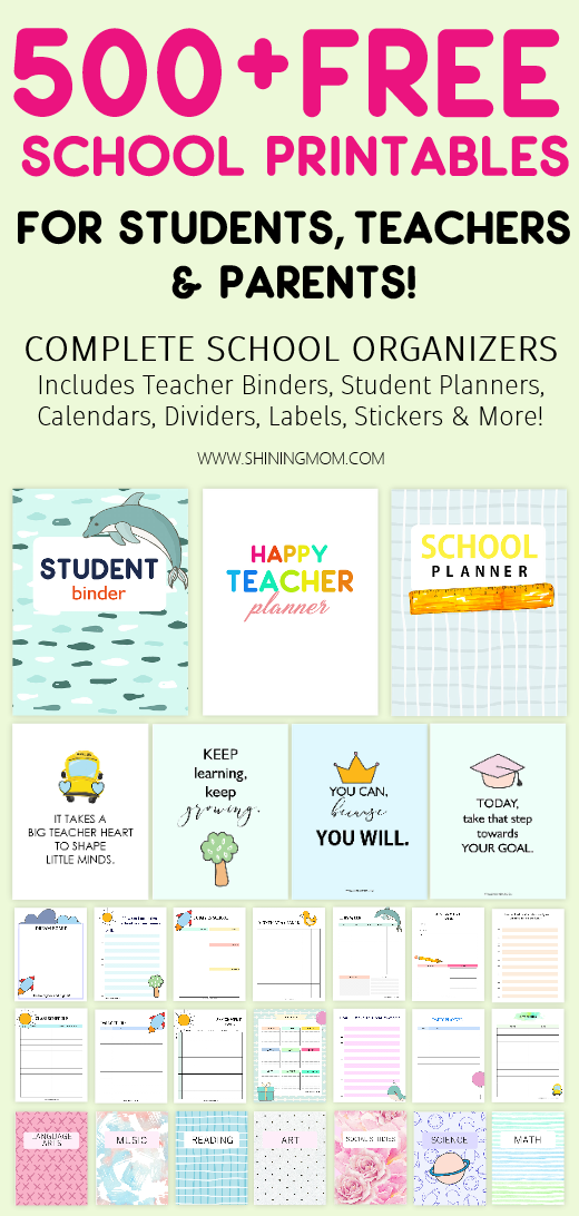 500+ Best School Free Printables for Teachers and Students ...