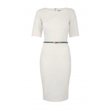 """Beautifully crafted rib dress in a crisp ivory shade which flatters the contours of your body through expert panelling. This dress has a high neckline, 3/4 length sleeves and a navy patent skinny belt.  Mannequin wears UK 8/EU 36.  Side neck to hem measures: 97 cm/38""""  Machine Wash according to instructions on label: Machine wash, cold, should not exceed 30C. Iron, low. Dry Clean, any solvent except Trichloroethylene. Do not tumble dry. Do not bleach. Wash dark colours seperately.  100% ..."""
