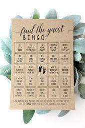Baby Shower Trouvez linvité Bingo cartes de bingo de bébé jeu de baby shower