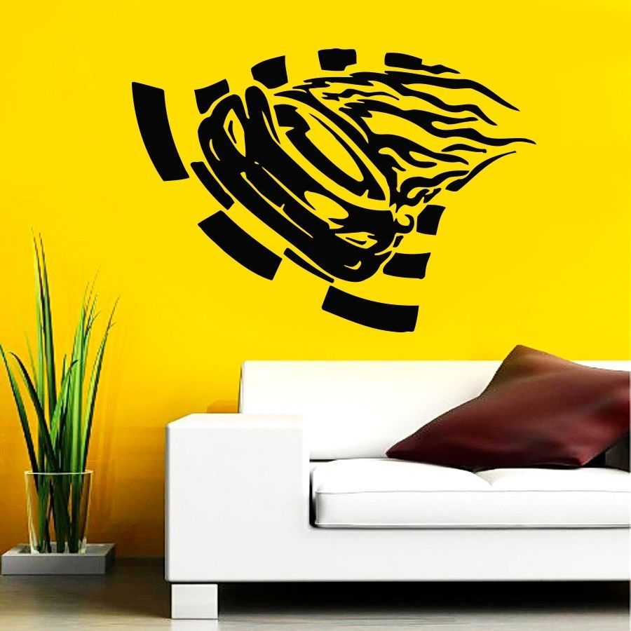 Wall Decal Vinyl Sticker Decals Art Mural Racing Car Riding ...