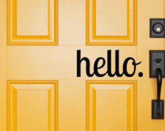 hello door decal FREE SHIPPING 12\  x 5\  - Vinyl ...  sc 1 st  Pinterest & hello door decal FREE SHIPPING 12\
