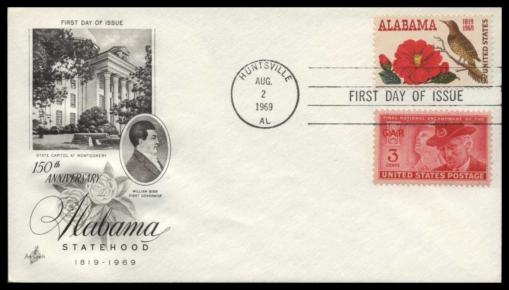 First Day Issue, Stamp, Postal History, Alabama Statehood