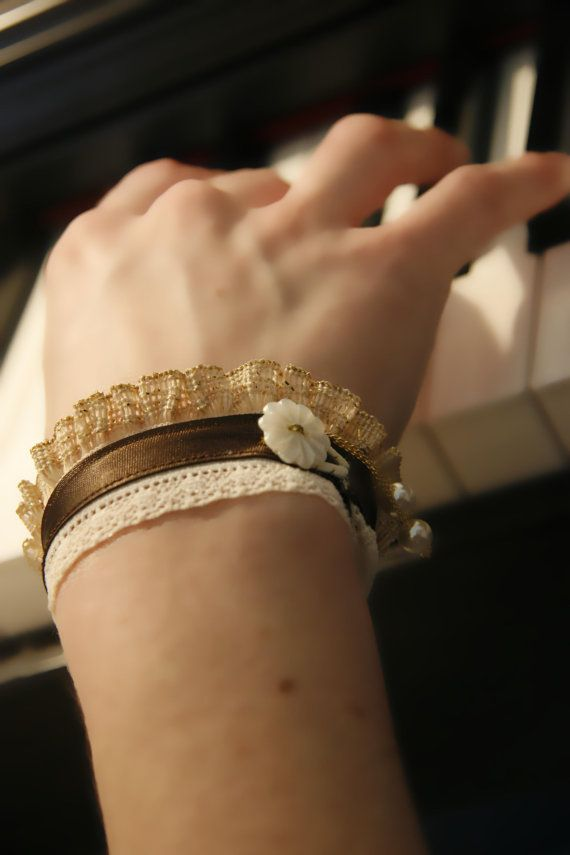 Delicate brown satin cuffs fabric bracelet lurex by MySecretFace