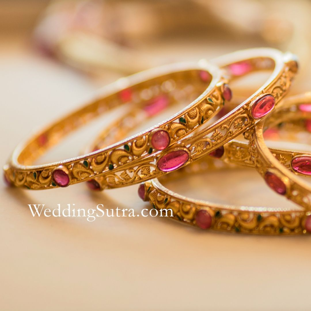 Azva handcrafted gold bangles with coloured stones. #Goldjewellery ...
