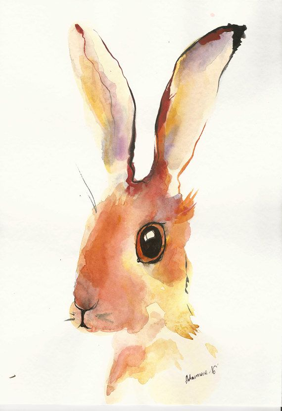 Yellow bunny original watercolor painting Easter bunny