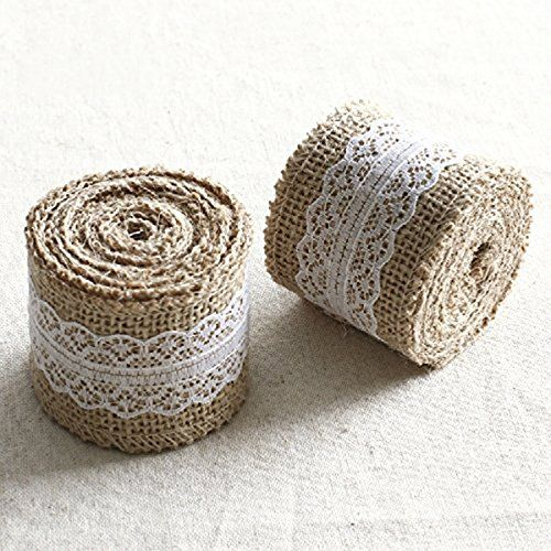 PIXNOR Burlap Lace Ribbon for DIY Crafts Home Wedding Decoration - 5M5CM ** Click image for more details.