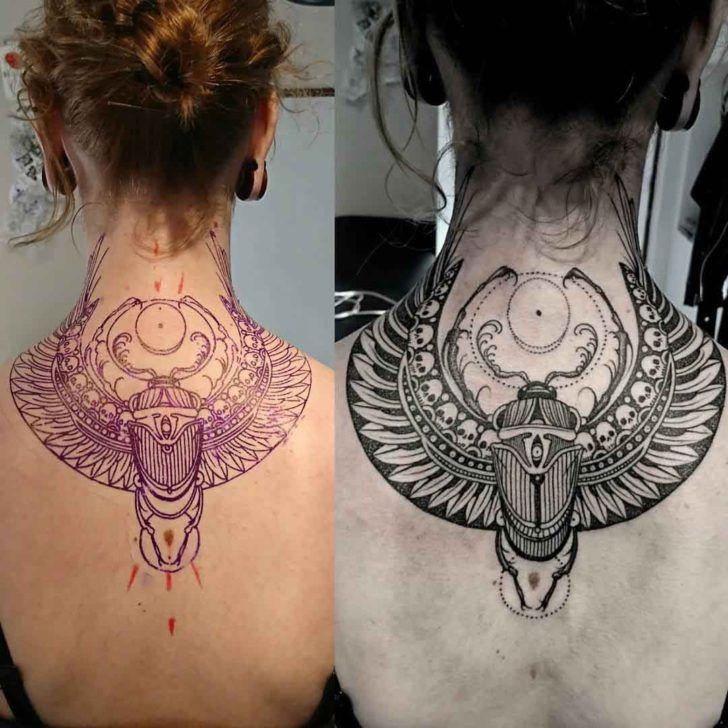 f33d2993e Back Neck Scarab Tattoo | tatoo | Scarab tattoo, Egyptian tattoo ...