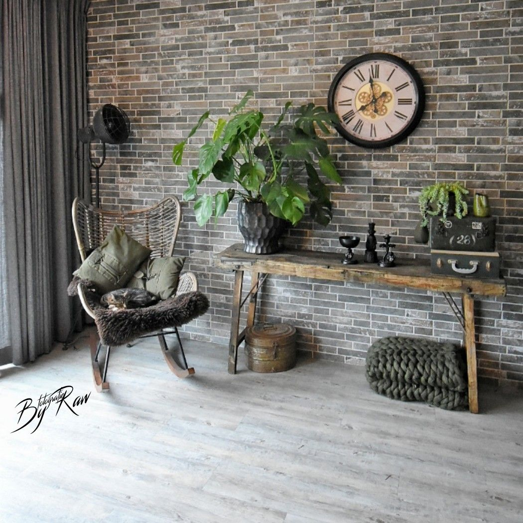 Echte Stenen Muur Met Steenstrips Van Style4walls Stenen Muur Binnenmuren Groen Interieur