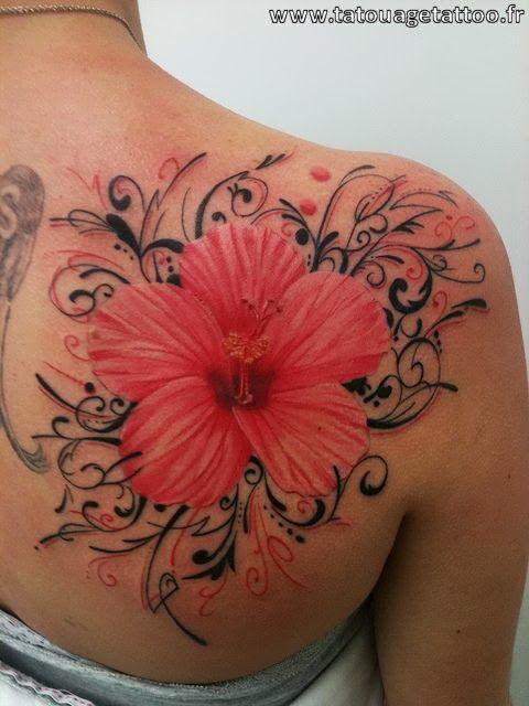 tatouage fleur hibiscus paule femme tatoo pinterest hibiscus. Black Bedroom Furniture Sets. Home Design Ideas
