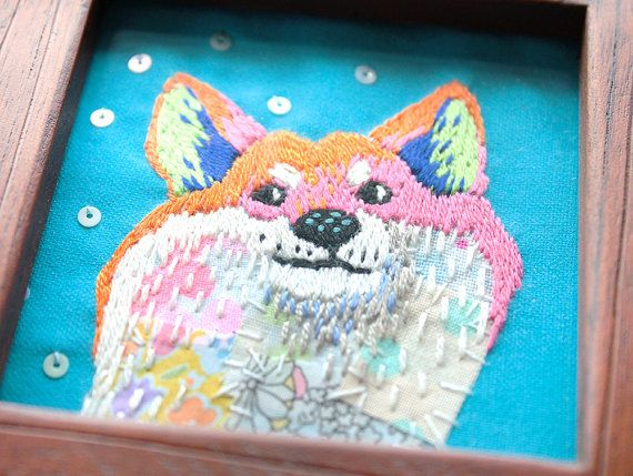 shiba inu embroidery mixed media by KimikaHara