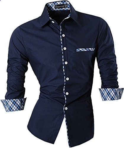 87fdad0c1 Jeansian Men's Slim Fit Long Sleeves Casual Shirts 8371 Black L Go to the  website to read more description.