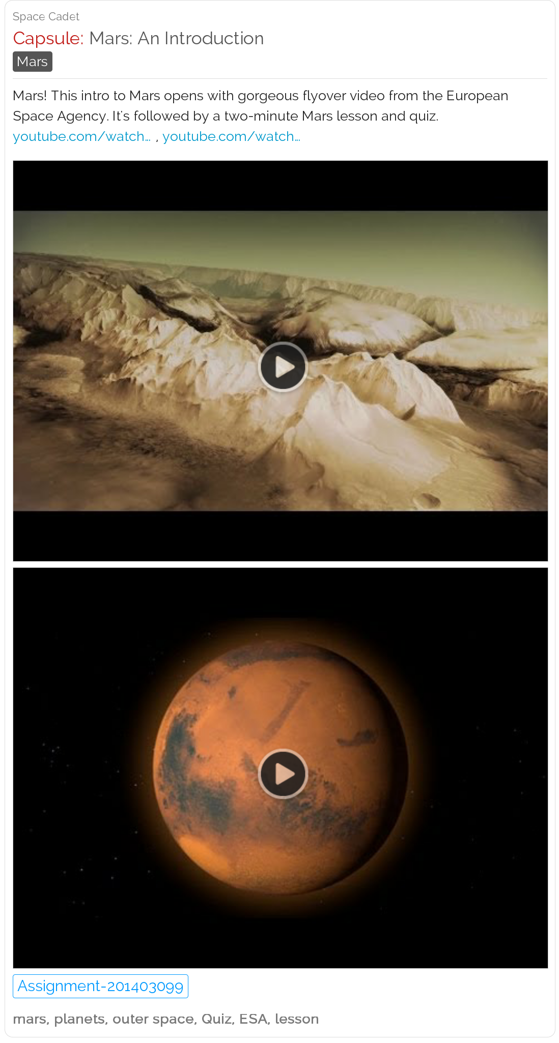 Mars: An Introduction. See gorgeous video, then a quiz. # ...