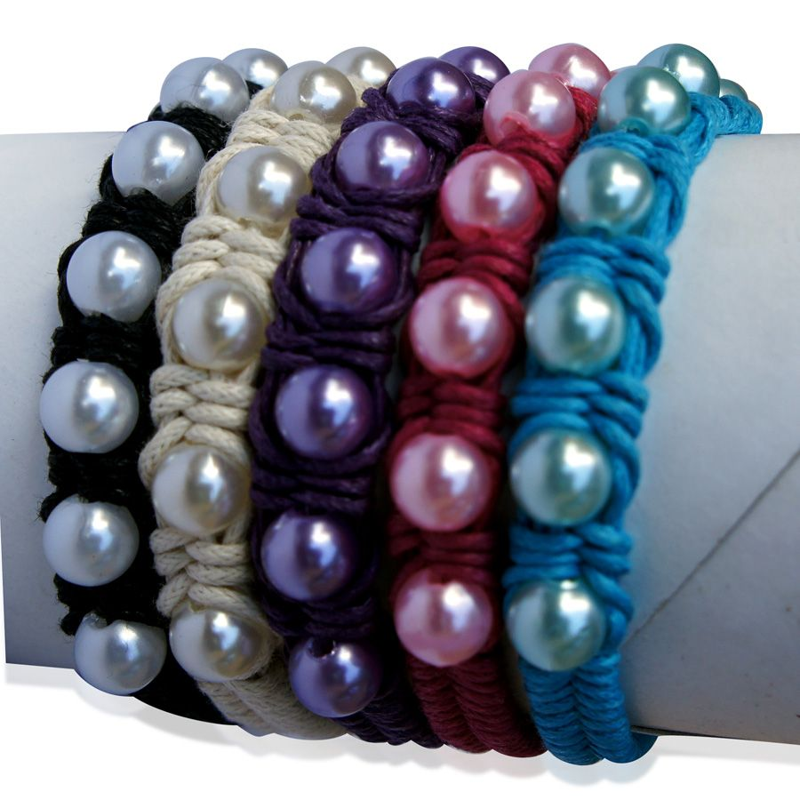 Royal Bali Collection Black, White, Purple, Pink and Blue Glass Pearl Set of 5 Friendship Bracelets (Adjustable)
