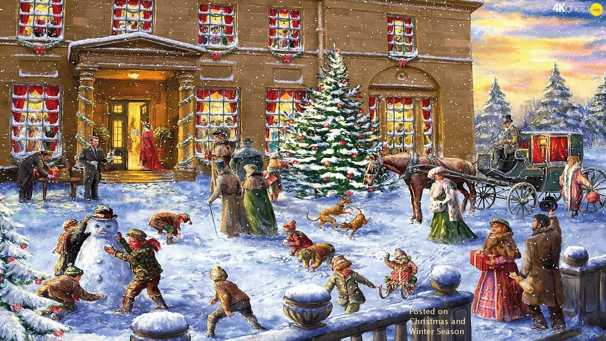 christmas scenes christmas art winter christmas victorian christmas vintage christmas father christmas christmas wallpaper vintage cards puzzle - Vintage Christmas Wallpaper