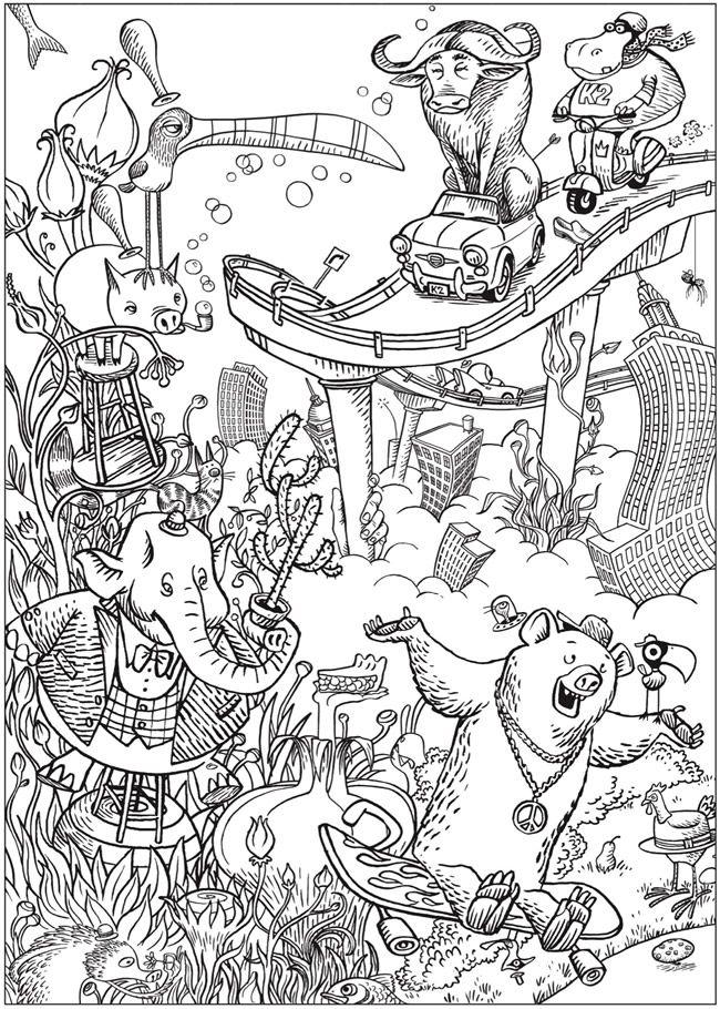Creative Haven Bizarro Land Coloring Book By Bizarro Cartoonist Dan Piraro Coloring Books Dover Coloring Pages Creative Haven Coloring Books