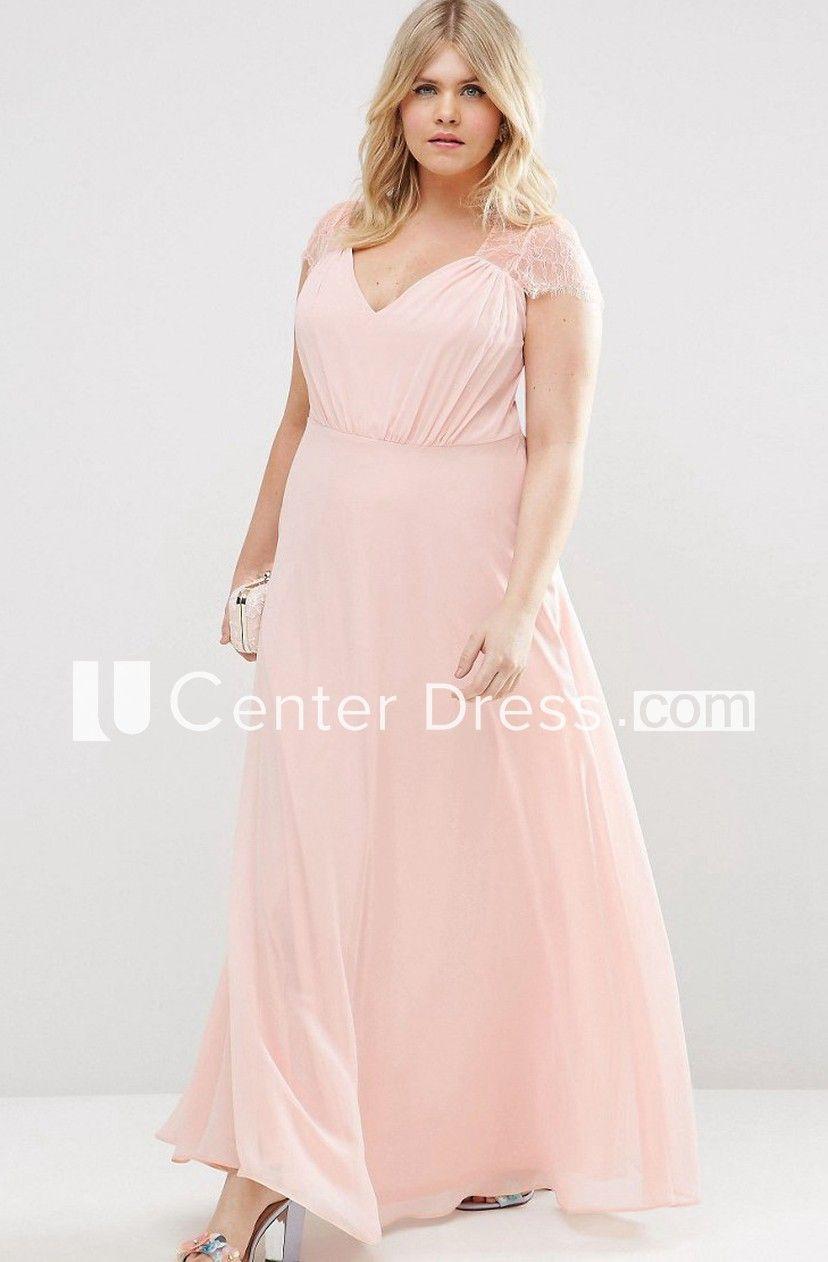 f9cb0be9ba27 Sheath V-Neck Cap-Sleeve Long Chiffon Bridesmaid Dress With Illusion - UCenter  Dress