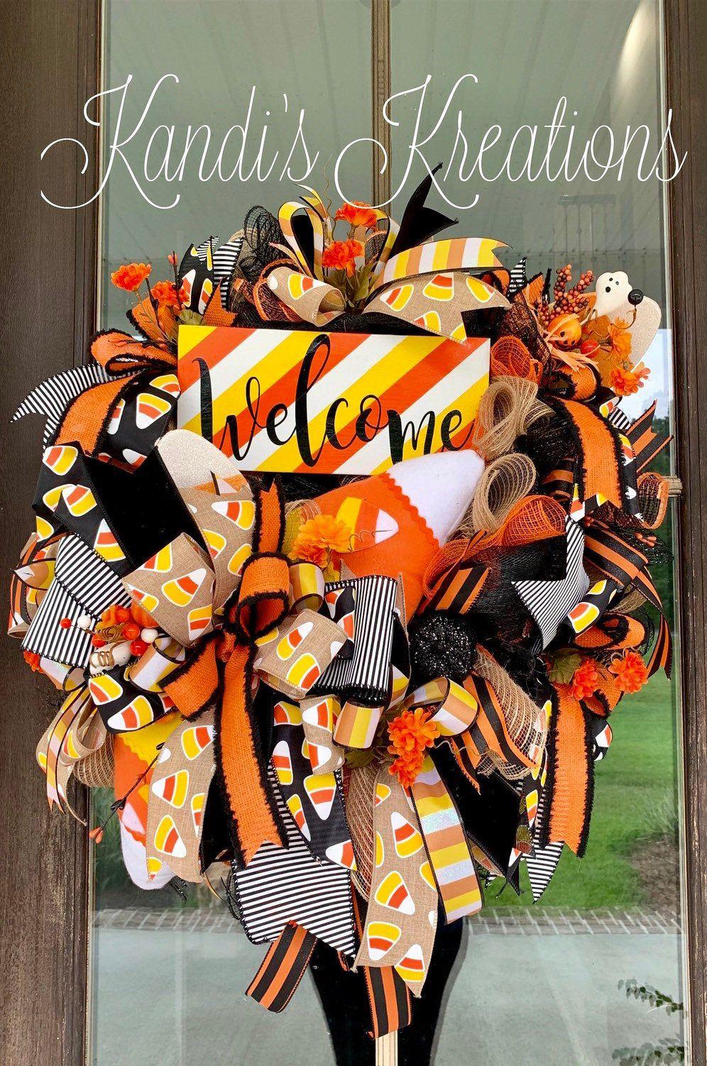 Halloween wreath , candy corn wreath, Halloween