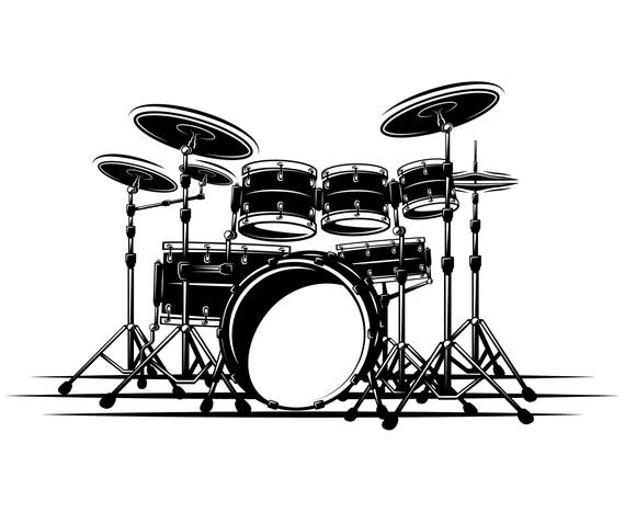 Drum Set Drummer Drum Silhouette Svg Graphics Illustration Vector Logo Digital Clipart Drum Drawing Drum Set Drums