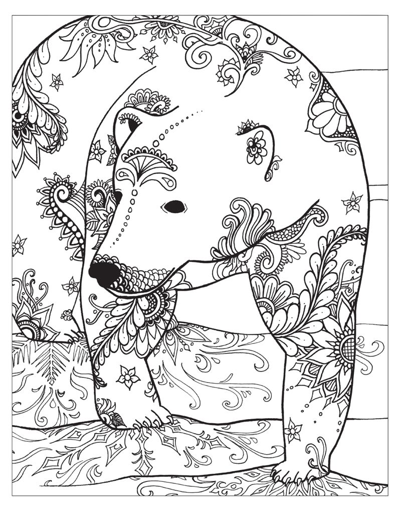 Zendoodle Coloring Winter Wonderland Animal Coloring