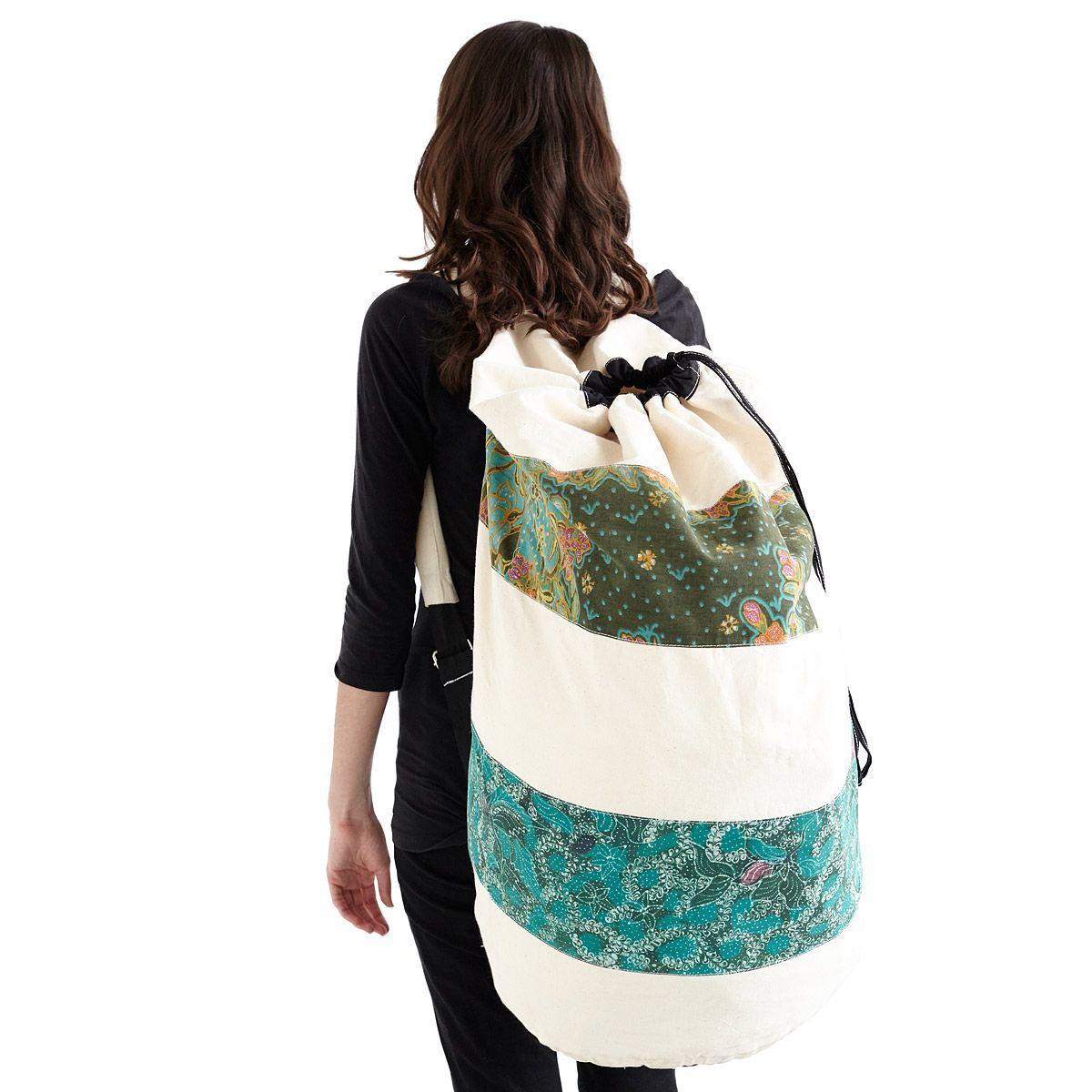 Batik Laundry Bag Backpack Handmade Sack Uncommongoods