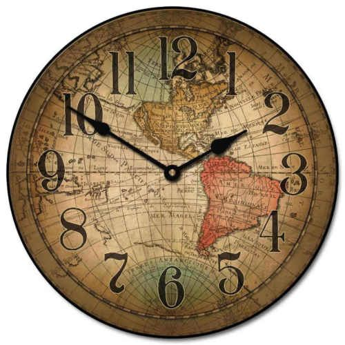 Vincenzo World Map Large Wall Clock 10 48 Quiet Non Ticking Wood Handmade Vintage Wall Clock Large Wall Clock Wall Clock