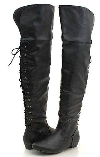 Pirate Thigh High Back Lace Biker Boots Kvinder Sko, Min-8173