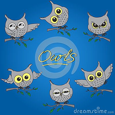 Cartoon owls in different moods by Olgalebedeva, via Dreamstime