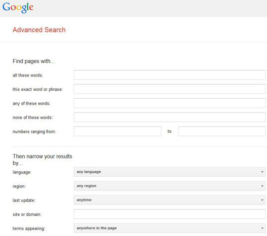 image of Google Advanced Search page. Use it to narrow down searches on Google. From: GenealogyInTime magazine http://www.genealogyintime.com/GenealogyResources/Articles/hot_tips_on_how_to_use_google_for_genealogy_searches_page4.html
