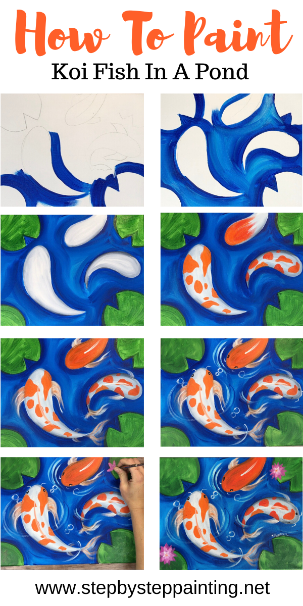 Koi Fish Painting - Step By Step Tutorial - With P