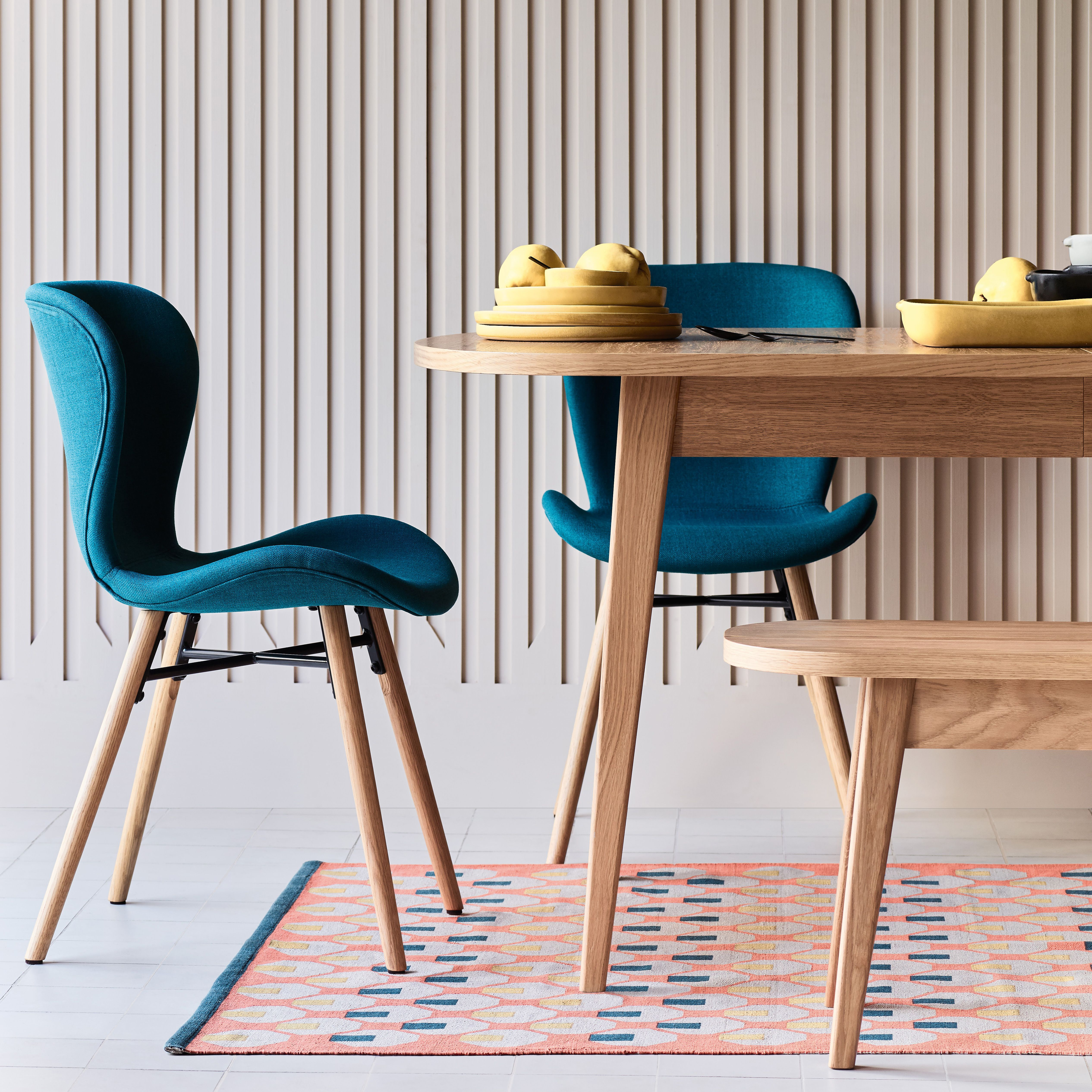 Etta chair pair of teal blue upholstered dining chairs