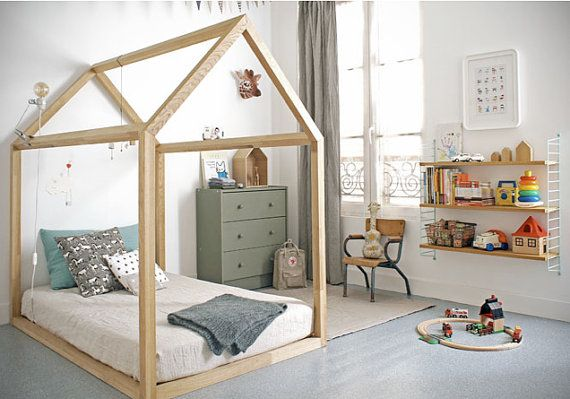 Kids Bedroom House kids nursery teepee cotton house. wood kids bed house. children