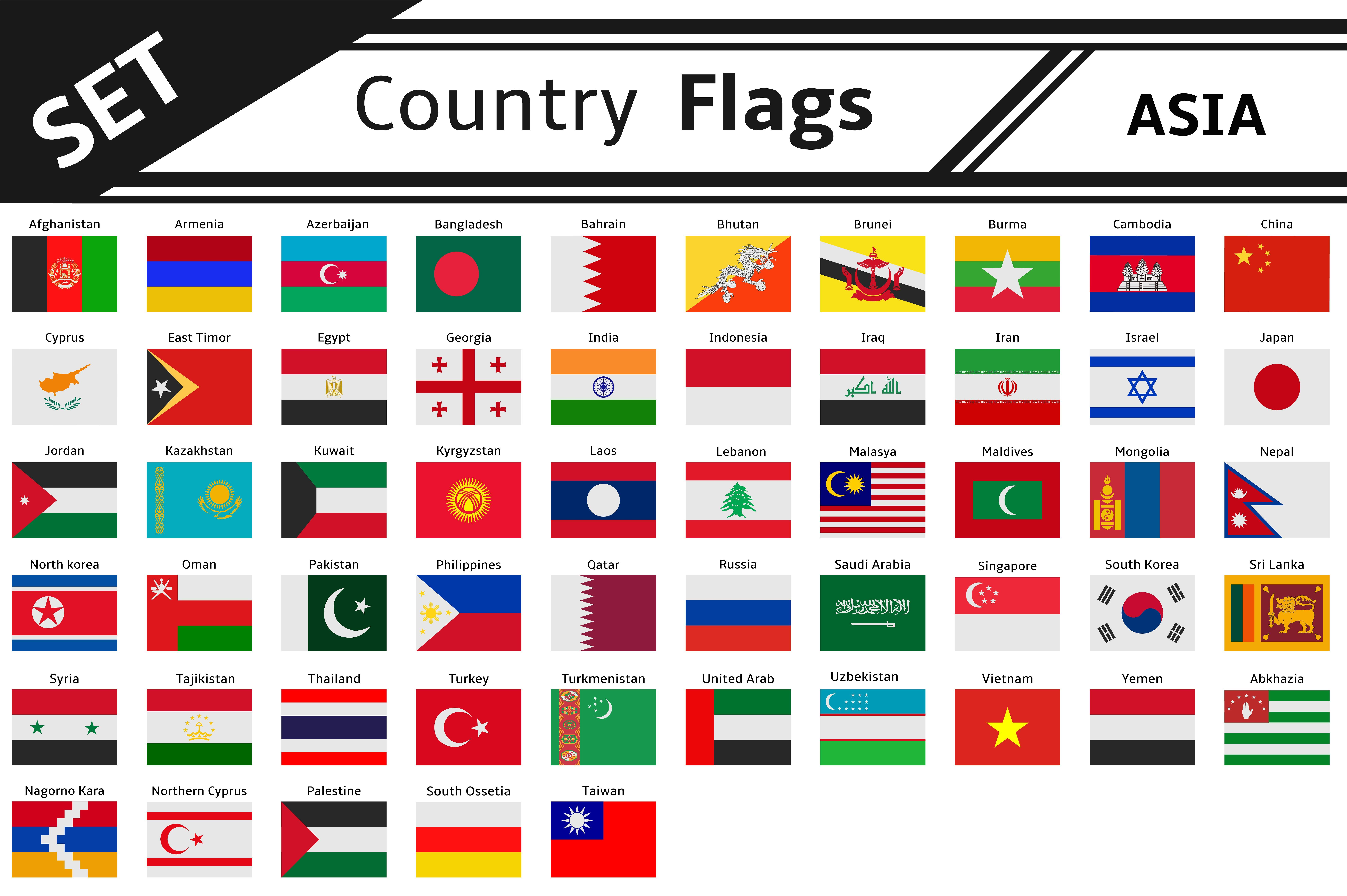 Set Countries Flags Asia Countries And Flags Flag Flags Of The World