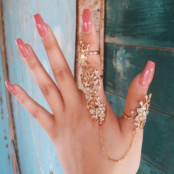 Crystals Flower Full Finger Ring | Full finger rings, Knuckle ...