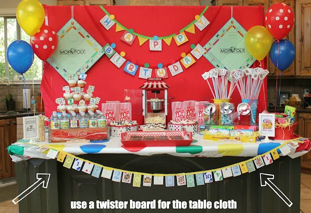 family game night party table i love the twister tablecloth